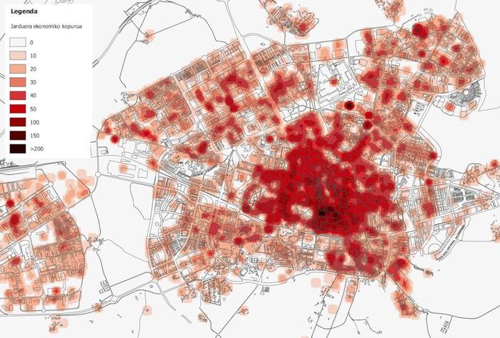 Gasteizko geografiaren eragina mugikortasunean (I): jarduera ekonomikoen banaketa
