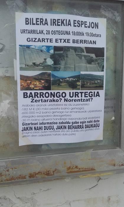 Barrongo urtegiaren proiektuak piztu du sua