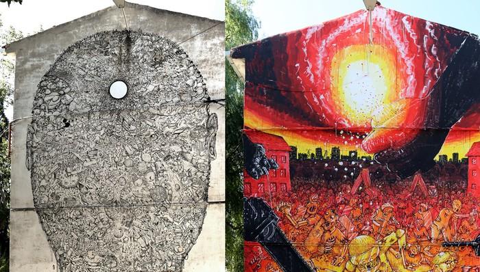 Blu artista italiarrak bi mural egin ditu Errekaleorren