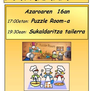 [HAURRENTZAKO EKINTZA] Puzzle Room-a eta sukaldaritza tailerra