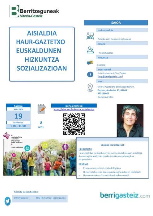 [HITZALDIA] 'Aisialdia haur-gaztetxo euskaldunen hizkuntza sozializazioan'