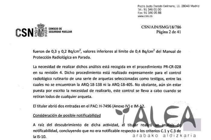 Zesio-137a aurkitu dute Garoñako bi estoldatan