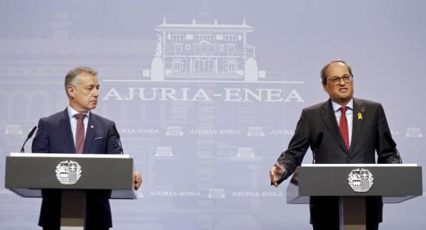 Iñigo Urkullu Lehendakariak eta Quim Torra presidenteak bilera egin dute Gasteizen