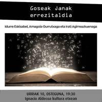 [IRAKURLE KLUBA] 'Goseak Janak' errezitaldia